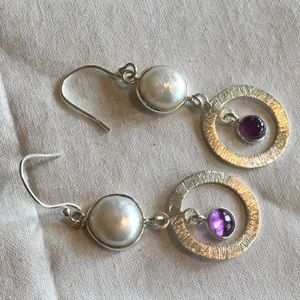 NWOT. Sterling Silver Amethyst Biwa Pearl Earrings